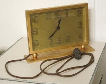 Mid Century Desk Clocl , Mad Men Desk Clock , 1950's Gold Desk Clock