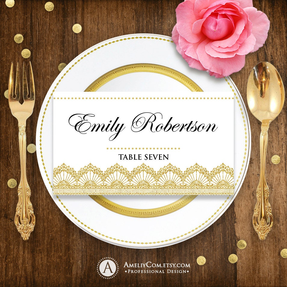 Printable Place Card Gold Lace For Wedding Instant Download - Wedding place card templates free download