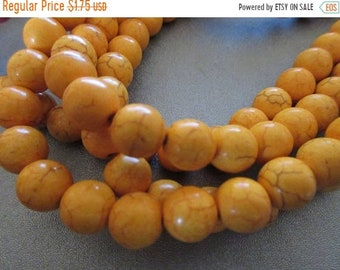 ON SALE 20% OFF Cotton Candy Yellow Magnesite Beads Round 10mm 42pcs