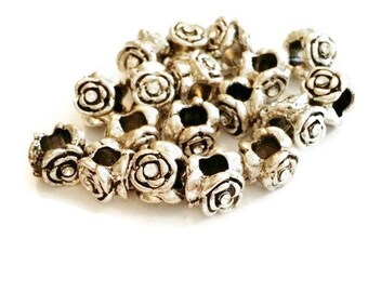 Rose Beads | Beads for Jewelry Making | Jewelry Supply | European Jewelry Beads | Large Hole Beads | Wholesale Beads | Flower Beads