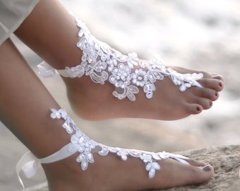 Barefoot Sandals Wedding on a Beach Bridal Foot Jewelry- Lace Barefoot Sandals- Barefoot Wedding Shoes- Footless Sandals- Boho Wedding Shoes