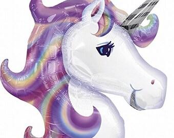 Pastel Rainbow Unicorn Balloon for Unicorn Party. Girls Unicorn Fantasy Birthday Party. Housewarming Gift. Unicorn Photo Prop. Dorm Decor.