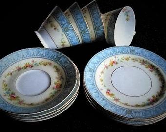 Set of 4 Blue and Orange Trios, Japanese Fine Bone Porcelain, Tea Cups, Saucers & Plates, Vintage Party Tableware, Noritake, China, Tea Set
