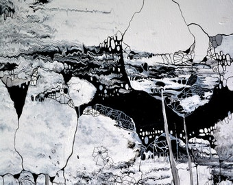 """Original Acrylic Painting Abstract Art Landscape black and white 30x24 """"Full Moon"""""""