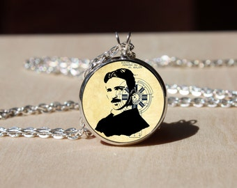 Handmade Nicola Tesla Necklace, Mechanical engineer, Physicist Glass dome Pendant, Science necklace, gift for Her Him, nekel free jewelry