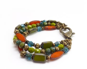 Multi-Color Bracelet - Orange, Lime Green & Teal Picasso Czech Glass Beads - Antique Bronze Clasp - Multistrand Bohemian Bracelet