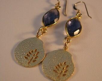 Gold Crystal Drop Earrings, gold earrings, crystal earrings, drop earrings, dangle earrings, bezel earrings, iolite earrings, earrings