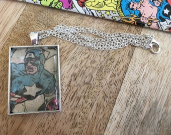 Marvel Avengers Captain America, Steve Rogers comic book page necklace pendant