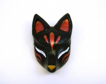 Kitsune Mask Japanese Fox Sculpture Hairclip Cosplay Costume Accessory