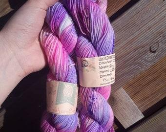 Hand dyed yarn - Barbie  -  sock - 50g skeins