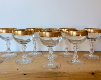 "Vintage Tiffin Franciscan Westchester Coupe Champagne Gold Encrusted Bubble Stem 5"" Set of 8 Excellent"