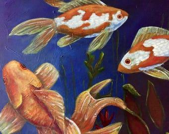 Fish Bowl large original acrylic painting