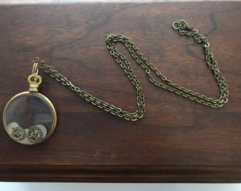 Antique Optic Lens Necklace with Watch Parts and Gears, Steampunk Necklace, Antique Eye Piece, Recycled Necklace, Watch Parts Necklace