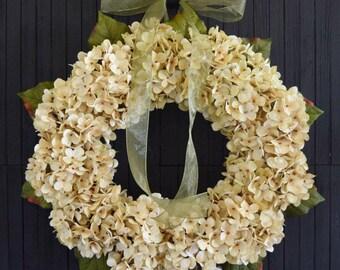 Cream Hydrangea Wreath for Front Door or Wedding