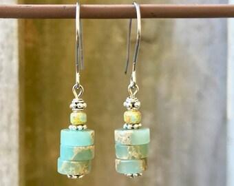 Silver Earrings, Turquoise Earrings, Aqua Terra Jasper Earrings, Czech Glass Earrings, Rustic Earrings, Boho Earrings, Earthy Earrings