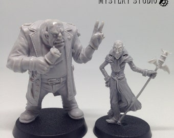Borbg and Sherlock commentators blood bowl, fantasy football miniatures with different heads