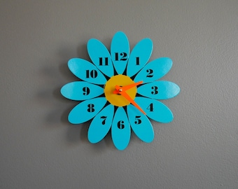 Mid Century Vintage Inspired Turquoise Blue Daisy Wall Clock
