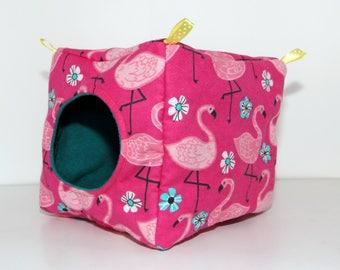 Hanging Chinchilla Cube, Square Rat Hammock, Floral Degu Hide - The Pinkest Flamingos