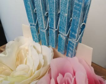 Bright Blue distressed clothespins set of 50