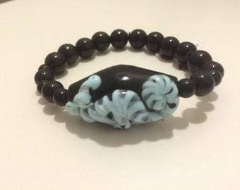 Bold, Striking Black and Turquoise Bracelet