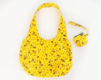 YELLOW FLOWER DESIGN Shoulder Bag with Wristlet Coin Purse | Hobo Bag | Medium Size Purse | Handbag