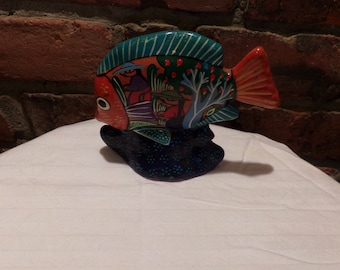 Hand painted terra cotta fish, Mexican folk art, Vibrant colored hand painted fish, Story painted fish, Morethebuckles