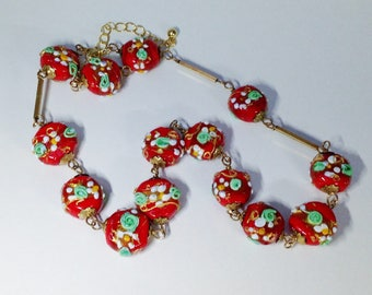Venetian wedding cake glass bead necklace vintage 1920s Murano lampwork glass handmade coin beads red white gold green floral beads