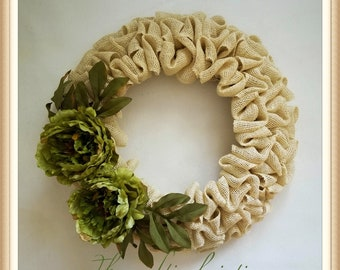 Fall Wreath-Fall Burlap Wreath-Front Door Burlap Wreath-Peony Wreath-Fall Wreath for Front Door-Thanksgiving Wreath-Rustic Fall Wreath