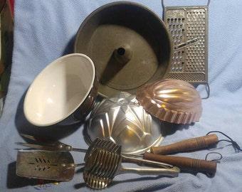 Vintage Kitchen Stuff!~ Angel Food Cake Pan, Molds, 4 in 1 Grater, Slicing Aid, BBQ Utensils, Enamel Bowl