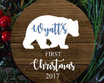 Bear baby's first christmas ornament, baby bear child first ornament,  christmas ornament for girl, kids ornament, FAUX wood ornament