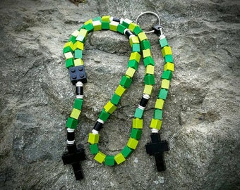 The Original Mementomoose Rosary and Chaplet Set Made with Lego Bricks - Green and Black - First Communion Special!