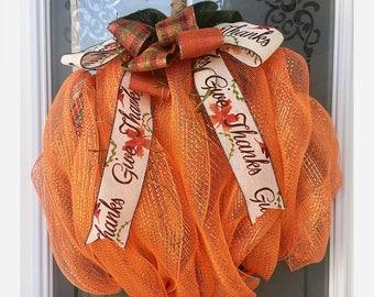 Pumpkin Wreath // Fall Wreath // Thanksgiving Wreath // Halloween Wreath