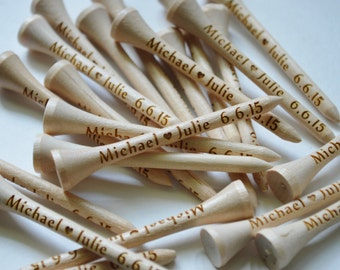 100 Personalized,Engraved, Golf Tees, Natural Wood, Wedding Favors, Fathers Day, Birthday, Best Man, Groomsmen, Gift for Him, Business