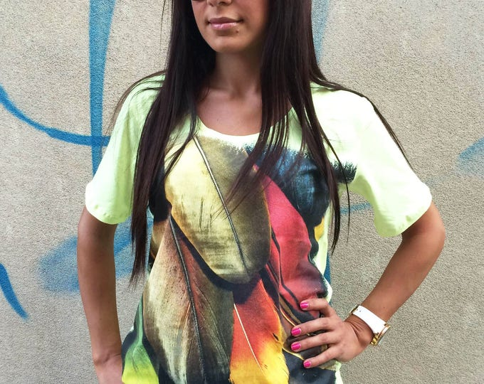 Handmade Extravagant Print T-shirt, White Shirt with Feather Print, Loose Soft Cotton T-Shirt Top by SSDfashion