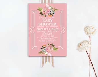 INSTANT DOWNLOAD baby shower invitation / floral baby shower invite / baby girl shower invite / vintage shower invite / DIY shower invite