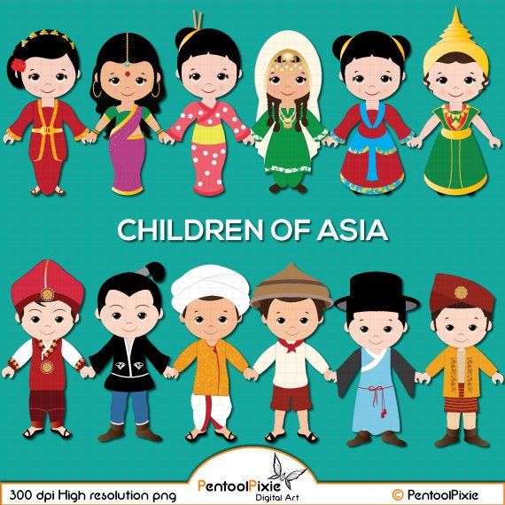 children of asia clipart asian kids children unity clipart rh etsy com asian clip art free asia clipart