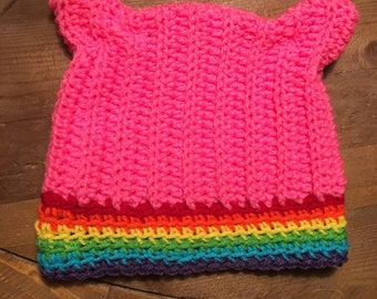 Pink Rainbow Cat Ear Hat
