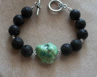 Natural Black Volcanic Lava Rock Beaded Bracelet with Green Gemstone Nugget Bead, Essential Oil Absorbent Lava Beads