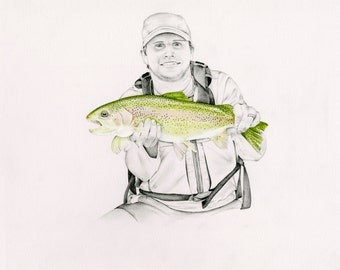 Men Personalized Gift for Men  for the Outdoorsman Gift Husband Boyfriend Gift Fisherman Lovers Gift for your Man Hand Drawn Portrait Men