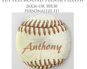 STUFFED Pillow-Custom Pillow-Baseball Floor Pillow-Sports Decor-Round Floor Pillow-Baseball Decor-Floor Cushion-Seating-Bachelor Decor