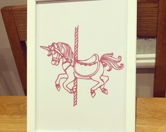 Carousel unicorn A4 papercut framed wall art