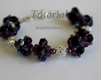 PDF tutiroal_beaded bracelet_Glowing sunset_seed beads_pearl_Swarovski crystals_Czech beads