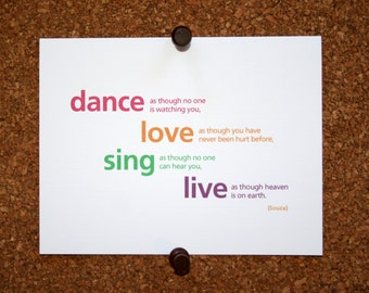 """Set of 10 / Inspirational Cards with Quote by Souza """"Dance as though no one is watching you, Love as though you have never been hurt..."""""""