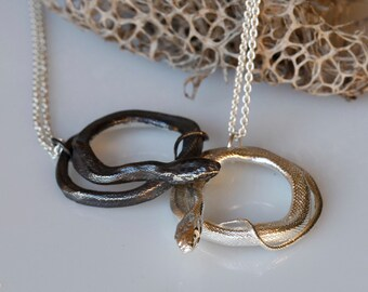 Snake jewelry, Coiled Snake Pendant, Sterling silver serpent necklace, made to order.