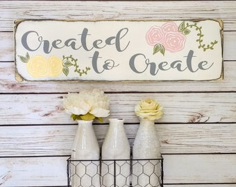 READY TO SHIP, Created To Create | Sign | Create Sign | Craft Room | Craft Room Decor | Makers Wall | Makers | Girl Boss | Girl Boss Sign