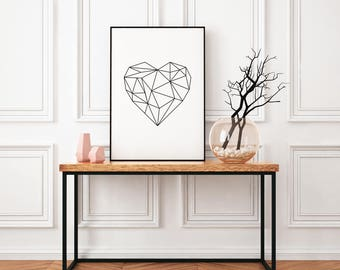 Heart - wall print, home print, graphic print, poster, marble/white background, home decor, gift, graphic prints, a4 print, marble decor