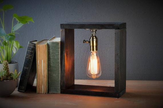 Industrial Lighting - Weathered Box Steampunk Lamp - Table Lamp - Edison Light - Vintage Light - Pipe Lamp - Bedside Lamp - Rustic Lighting