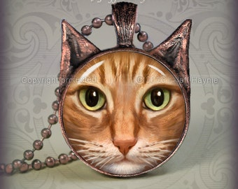 OTB16 Orange Tabby Cat pendant