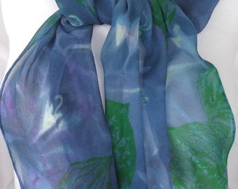 silk scarf hand painted Hosta Moonlight unique extra long chiffon wearable art lavender jade green white floral
