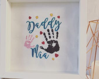 Personalised Handprint Embroidered Framed Picture